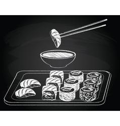 Sushi vintage on the chalkboard background vector image