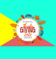 thanksgiving autumn sale text poster for vector image