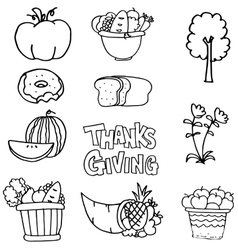 Thanksgiving element with hand draw on doodles vector