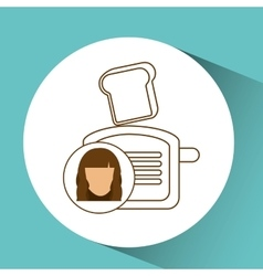 Toaster appliance icon bread kitchen female vector