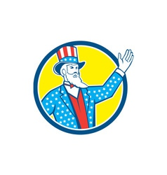 Uncle Sam American Hand Up Circle Retro vector