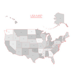 United states of america map in grey vector