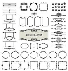 Vintage frames dividers signboards mega set vector image