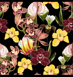 Watercolor style orchid flowers seamless pattern vector