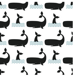 Whale seamless pattern vector