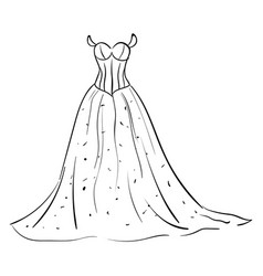 woman long dress drawing on white background vector image