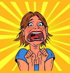 Woman screams in panic human emotions fear vector