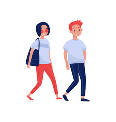 young couple walking together cartoon people vector image