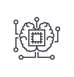 artificial intelligence chip with brain vector image vector image