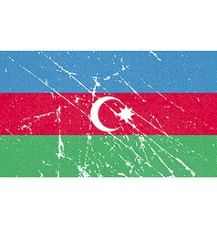 Flag of Azerbaijan with old texture vector image vector image