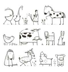 Funny Cartoon Farm Domestic Animals Collection for vector image