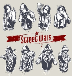 hooded gangsters vector image vector image