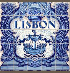 Lisbon ceramic tile lisboa souvenir vector