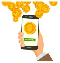 Mobile dollar receiving concept human hand vector
