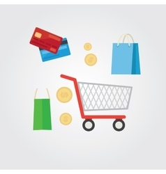 Set of flat design concept shopping icons vector image vector image