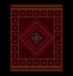 vintage oriental carpet with ethnic ornament in ma vector image