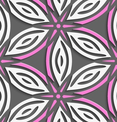 White geometrical flowers with pink stars on gray vector image vector image
