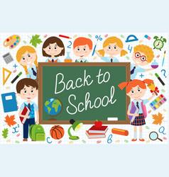 back to school blackboard with schoolchild vector image