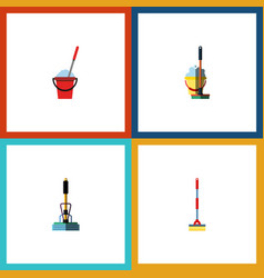 Flat icon mop set of bucket mop sweep and other vector