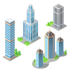 isometric modern buildings cartoon vector image