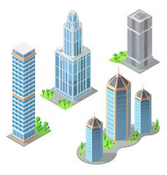 isometric modern buildings cartoon vector image