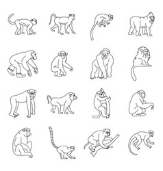 monkey types icons set outline style vector image