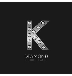 Silver K letter vector image vector image