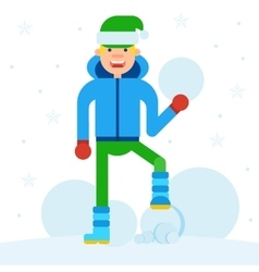 Teen sculpts snowman vector