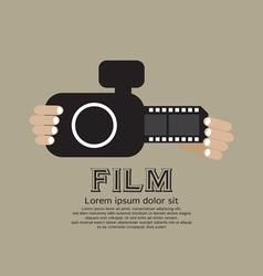 Vintage Camera With Film Strip vector image vector image