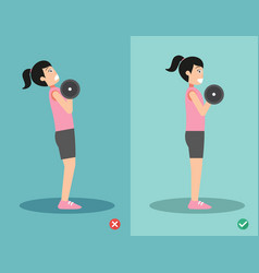 Woman wrong and right dumbbell curl posture vector