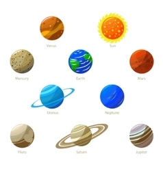 Colorful Solar System Planets and Sun vector image