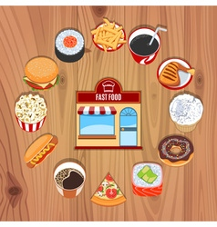 Fast Food Products On Wooden Background vector image