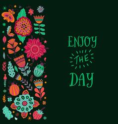floral card design leaf doodle elements vector image vector image