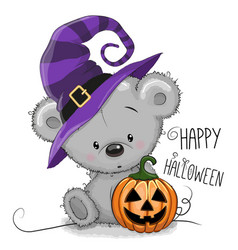 halloween of cartoon bear vector image vector image