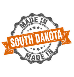made in south dakota round seal vector image vector image