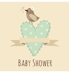 Baby shower invitation birthday card with bird vector image