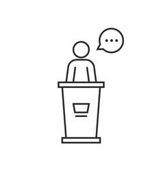 black thin line speaker podium vector image vector image