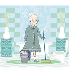 cartoon character housemaid with mop vector image