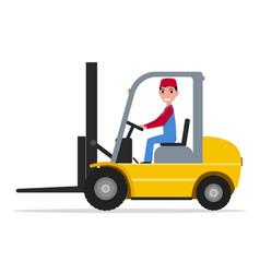 cartoon man driving small yellow autoloader vector image vector image