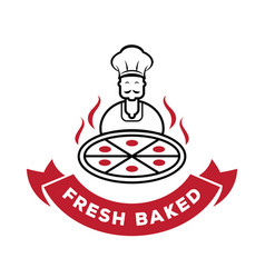 chef serve fresh baked pizza logo vector image