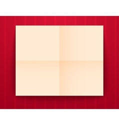 Empty old sheet of paper folded in fourfold on red vector image