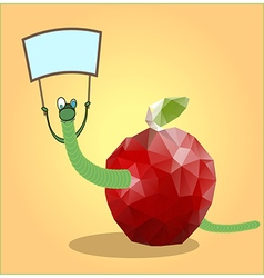 mosaic apple with a worm vector image