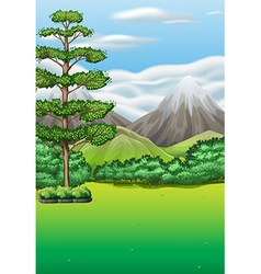 Nature scene with field and mountains vector image vector image