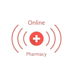 red online pharmacy logotype with wave vector image vector image