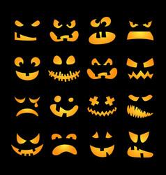 Scary Halloween pumpkin faces set vector image vector image