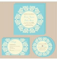 Wedding invitations blue set vector
