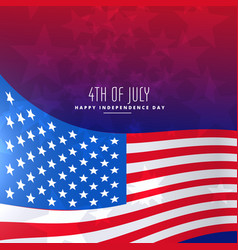 4th july wavy flag background vector image