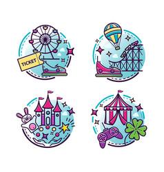 amusement park outline icons vector image