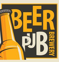 Banner for beer pub and brewery with bottle vector