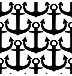 Black and white anchors seamless pattern vector image
